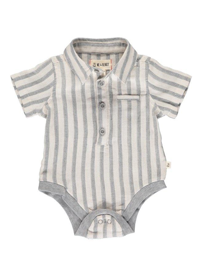 HELFORD ss onesie - Grey/cream stripe