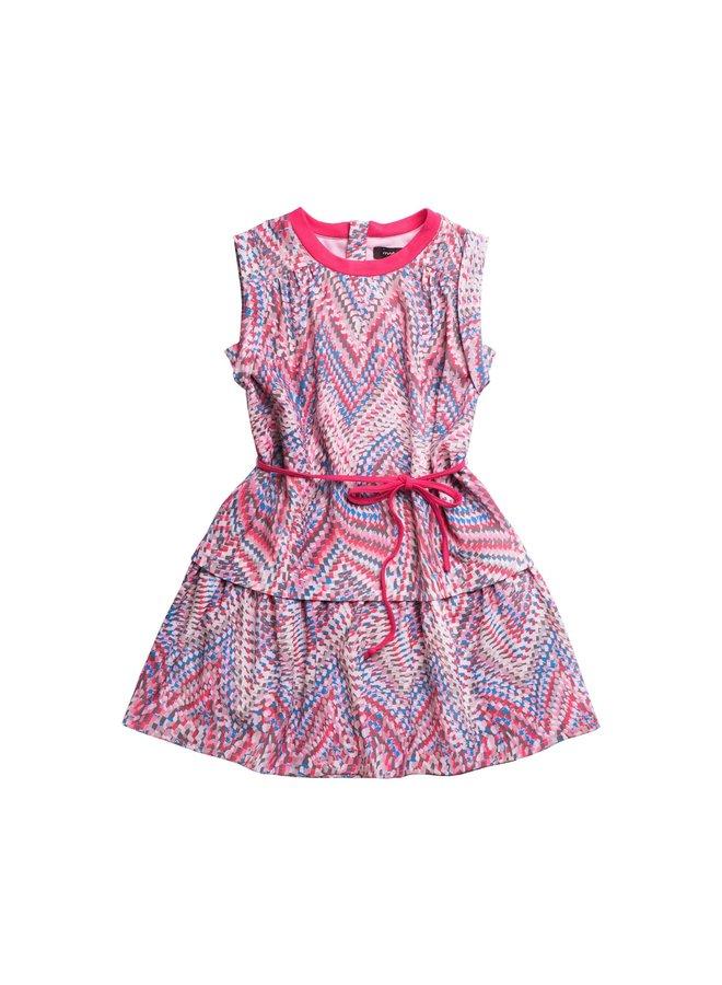 Printed Woven Dress w Belt - Malta