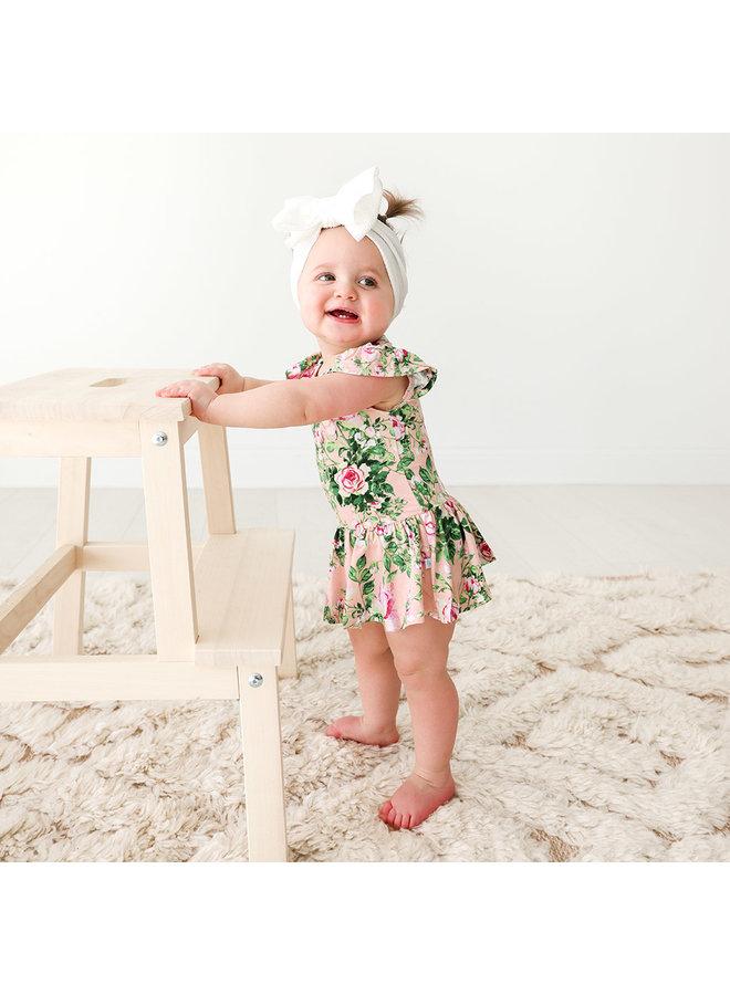 Renia - Ruffled Capsleeve Basic Twirl Skirt Bodysuit