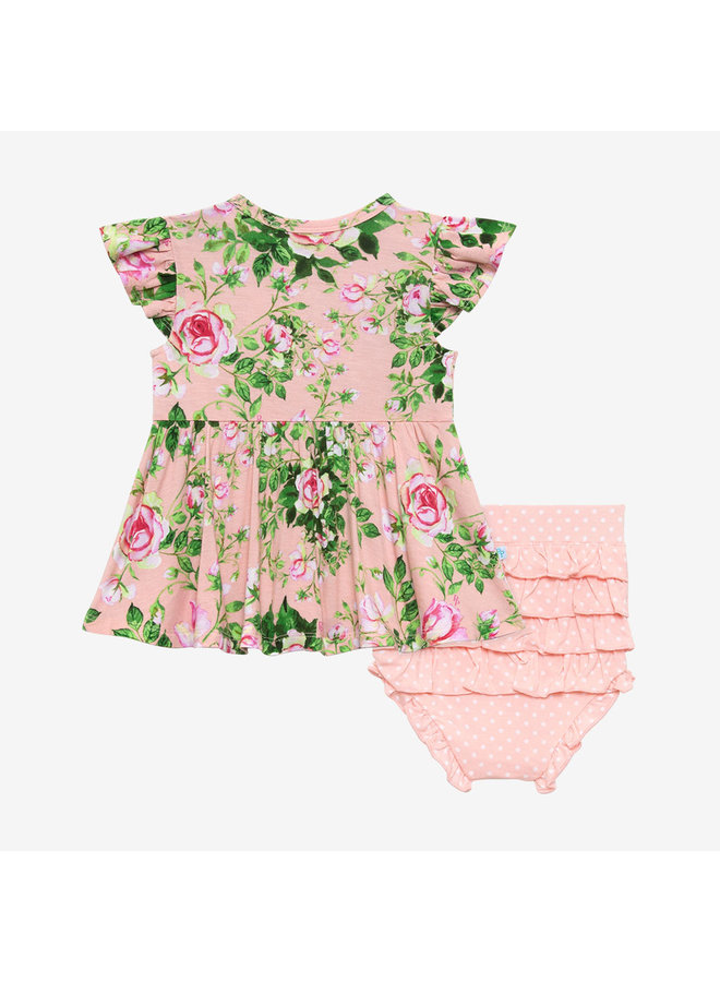 Renia - Short Sleeve Basic Peplum Top & Bloomer Set