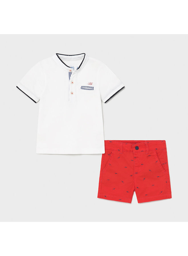 Polo & Short Set - Cyber Red