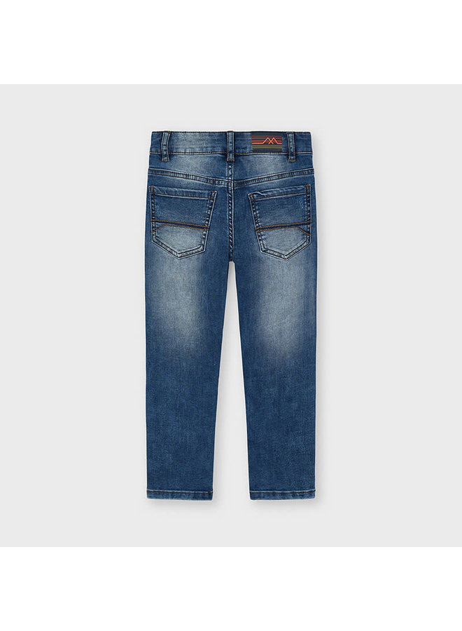 Straight Fit Ripped Jeans - Denim