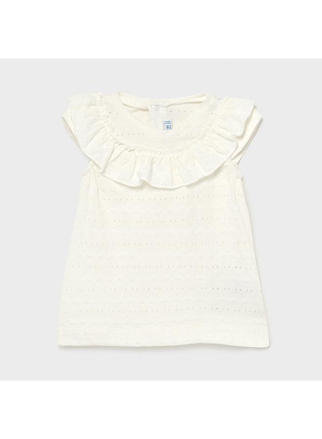 SS T-Shirt w Yoke Collar- Natural