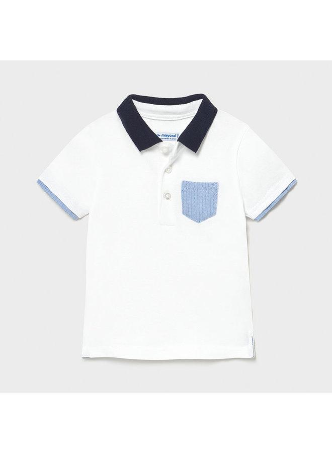 SS Polo Shirt w Patch Pocket - White