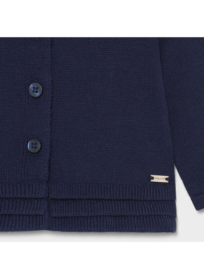 Buttoned Tricot Cardigan - Navy