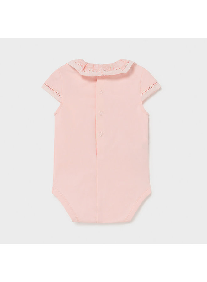 SS Bodysuit w/ Ruffle Collar - Pale Blush