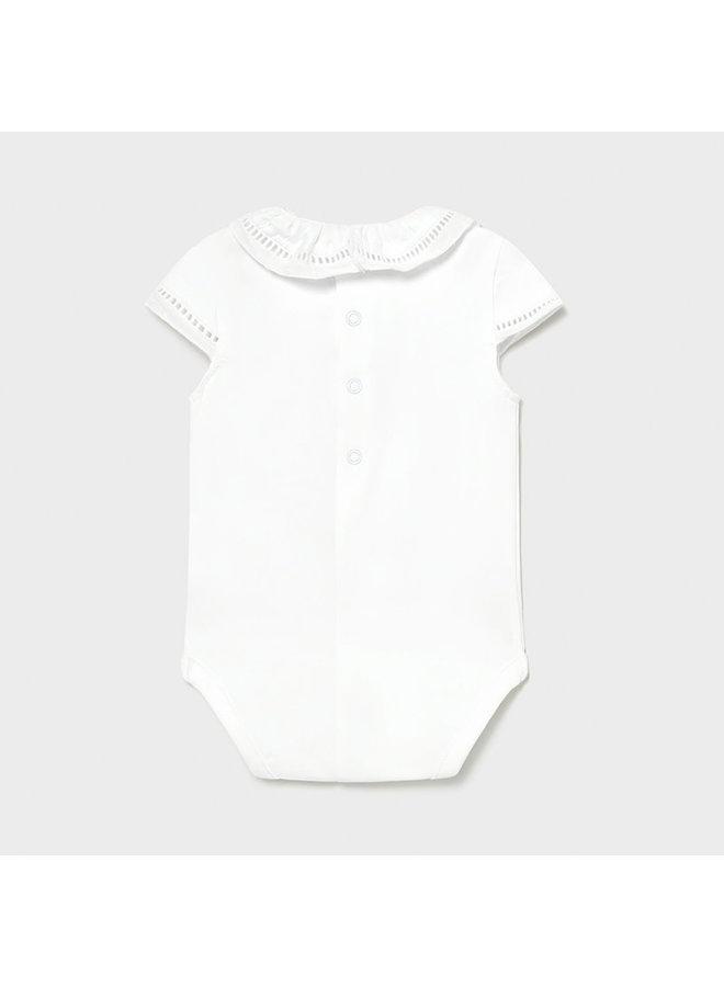 SS Bodysuit w/ Ruffle Collar - White