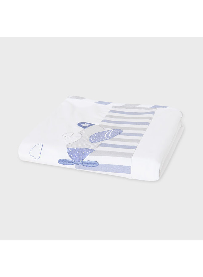 Embroidered Airplane Blanket - Blue