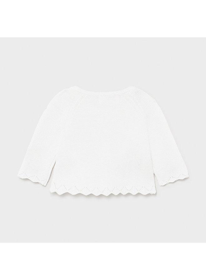 Basic Knit Long Cardigan - White