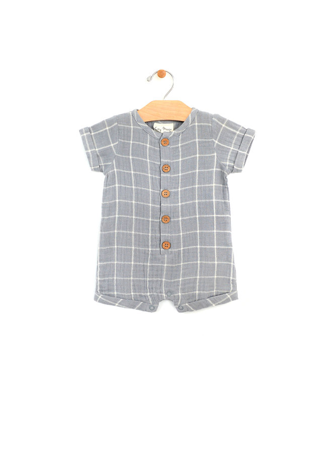 Woven Short Button Romper - Windowpane