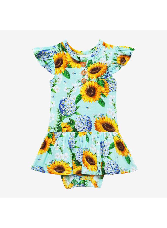 Sunny - Ruffled Capsleeve Henley Twirl Skirt Bodysuit