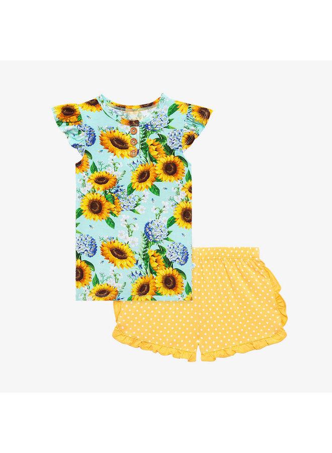Sunny - Henley Ruffled Capsleeve T-Shirt and Varsity Short