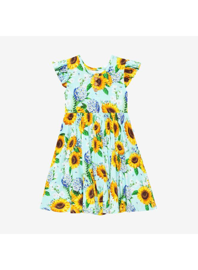 Sunny - Ruffled Capsleeve Henley Twirl Dress