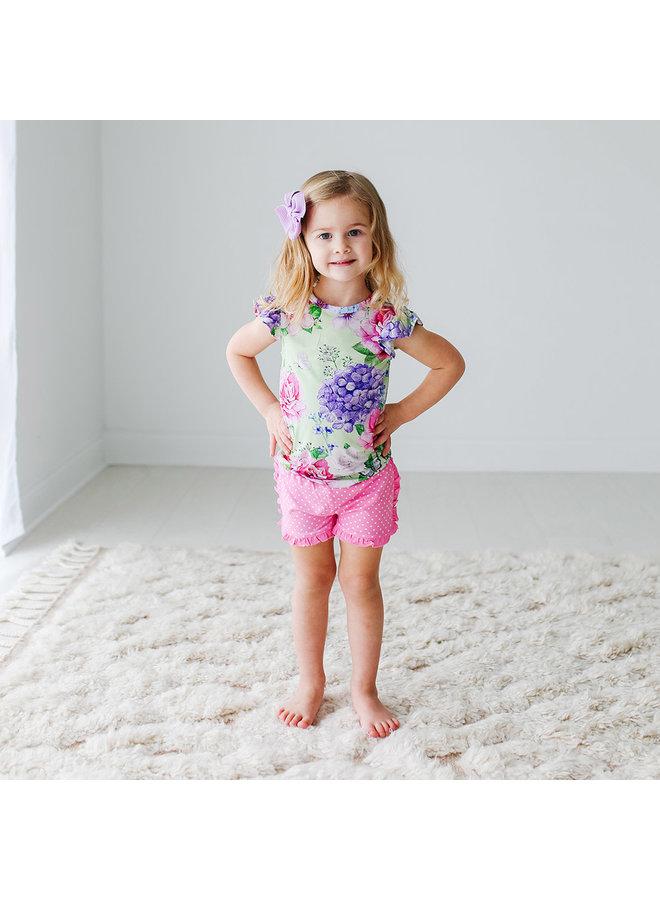 Georgina - Ruffled Capsleeve T-Shirt & Varsity Short