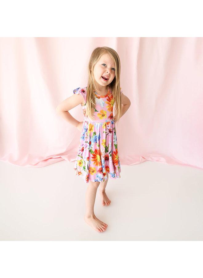 Kaileigh - Ruffled Capsleeve Basic Twirl Dress *PREORDER*