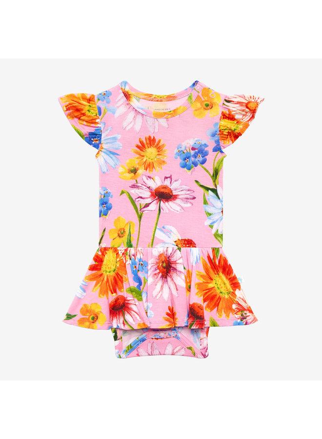 Kaileigh - Ruffled Capsleeve Basic Twirl Skirt Bodysuit