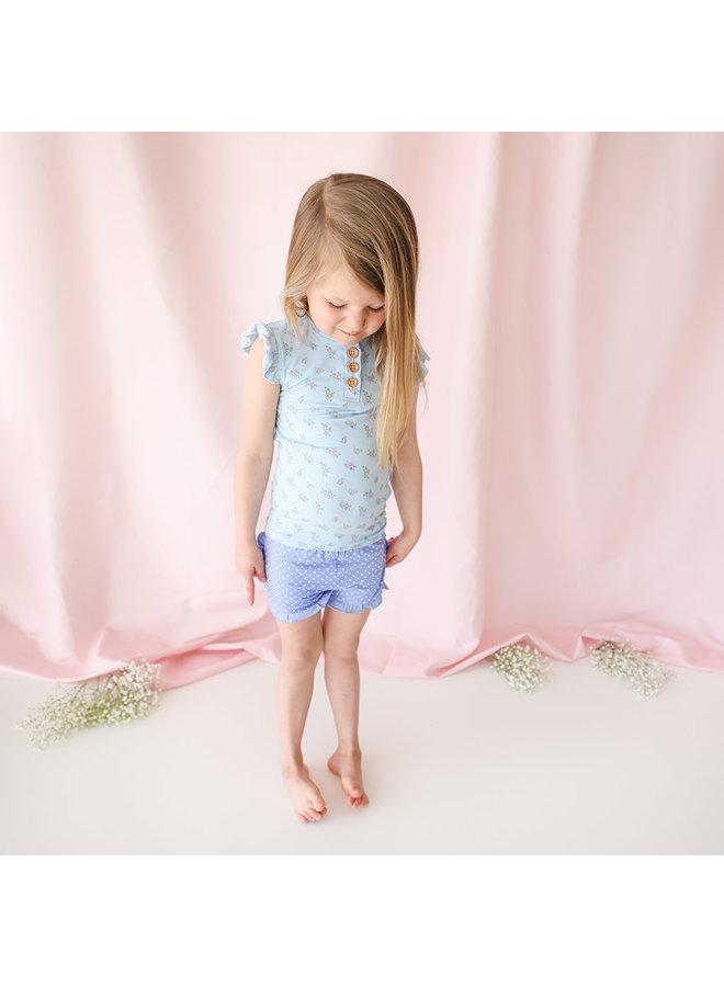 Grace - Henley Ruffled Capsleeve T-Shirt & Ruffled Varsity Short *PREORDER*