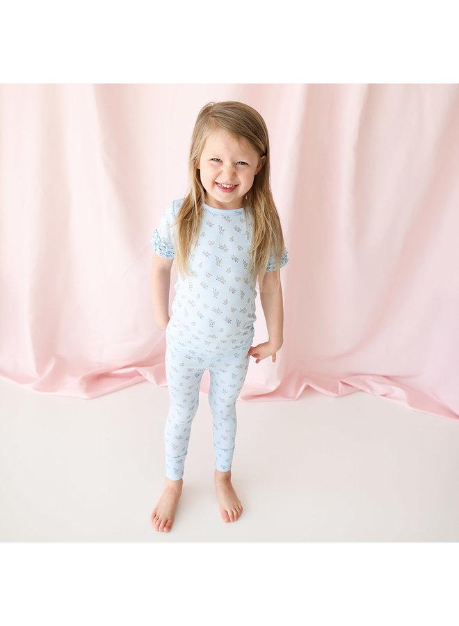 Grace - Basic Short Sleeve Micro Ruffled Shirt & Long Pants *PREORDER*