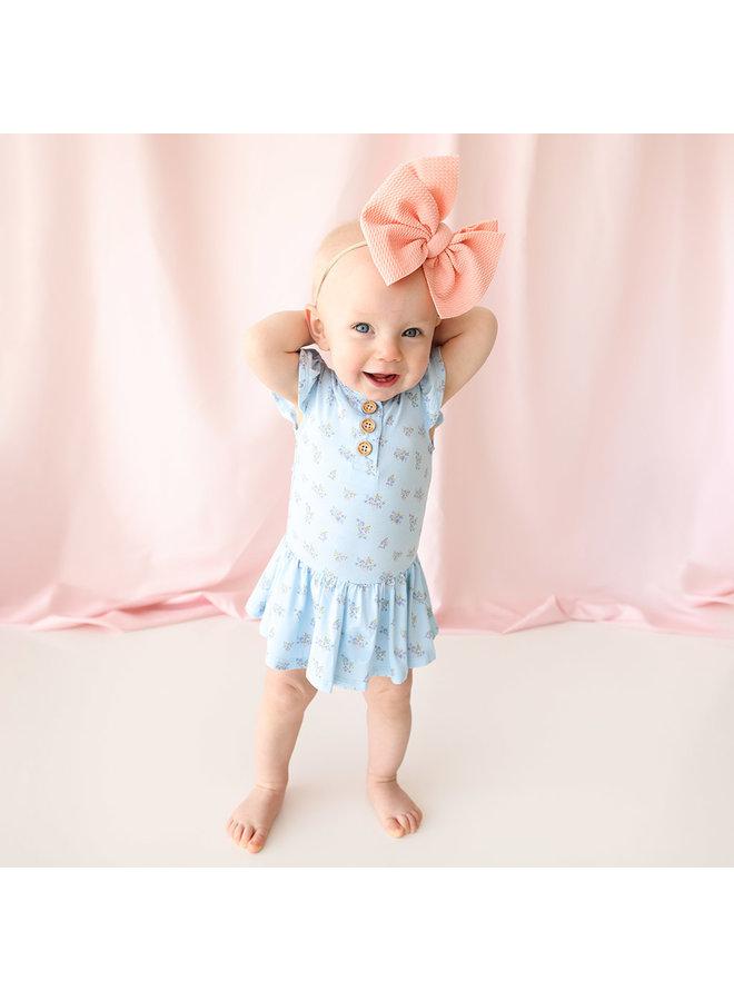 Grace - Ruffled Capsleeve Henley Twirl Skirt Bodysuit
