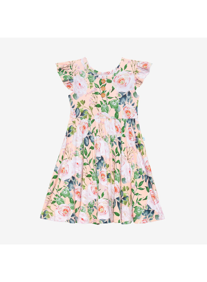 Harper - Ruffled Capsleeve Henley Twirl Dress *PREORDER*
