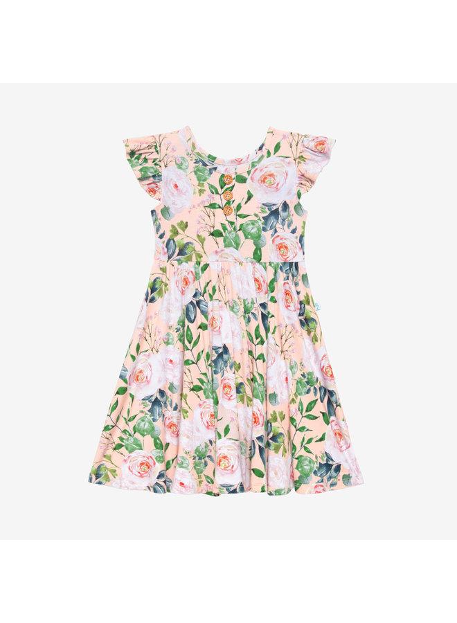 Harper - Ruffled Capsleeve Henley Twirl Dress