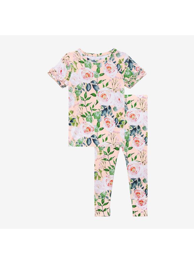 Harper - Basic Short Sleeve Micro Ruffled Shirt & Long Pant *PREORDER*