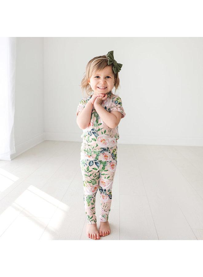 Harper - Basic Short Sleeve Micro Ruffled Shirt & Long Pant