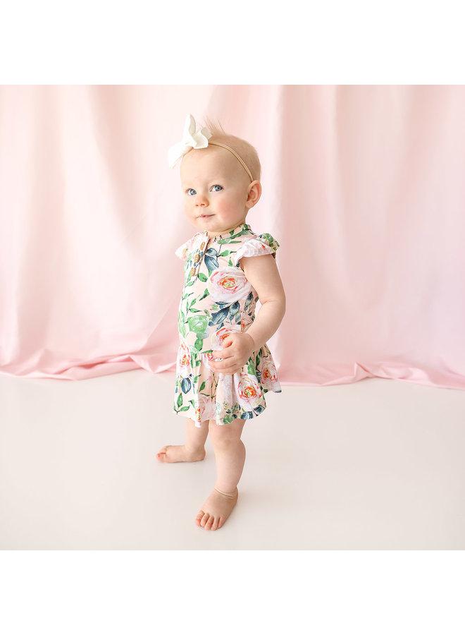Harper - Ruffled Capsleeve Henley Twirl Skirt Bodysuit *PREORDER*