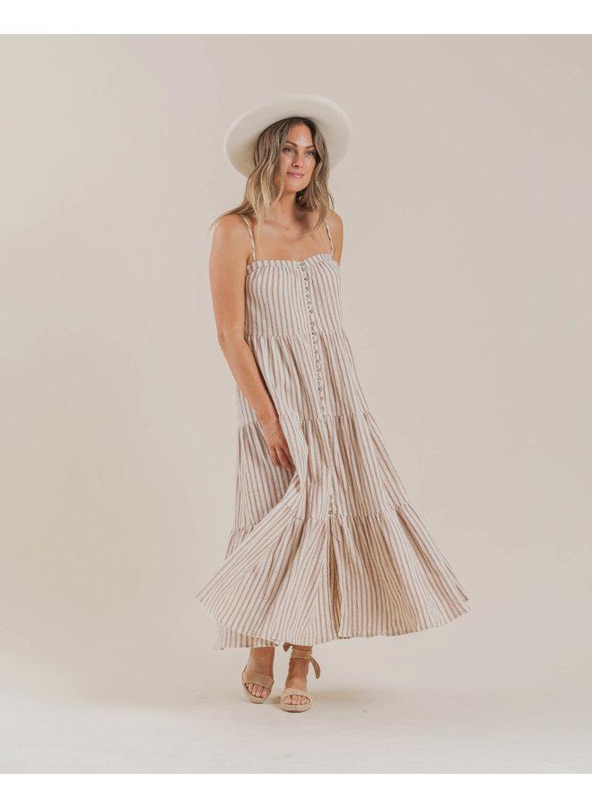 Women's Striped Tiered Maxi Dress - Amber