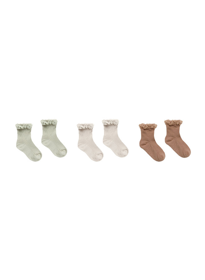 Lace Trim Socks Set - Sage/Shell/Terracotta