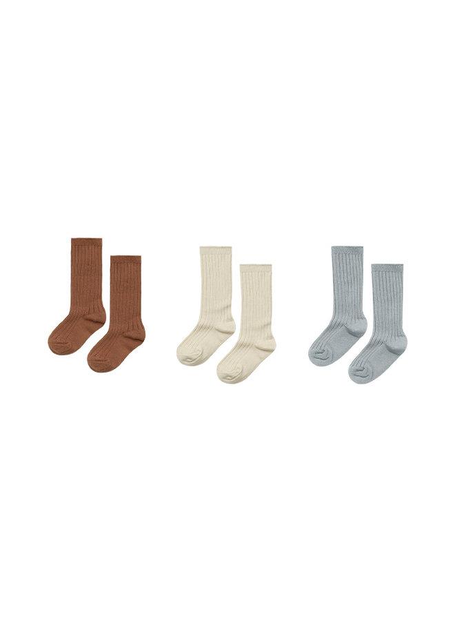 Knee Socks - Amber/Butter/Blue