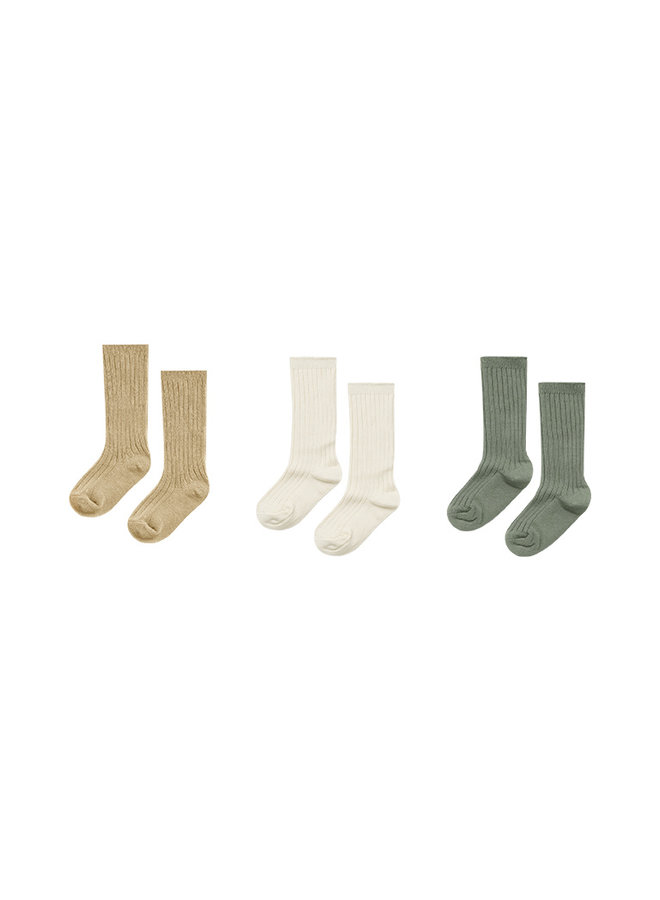 Knee Socks - Almond/Natural/Fern