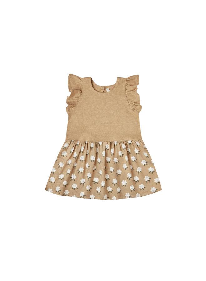 White Flora Coury Dress - Almond