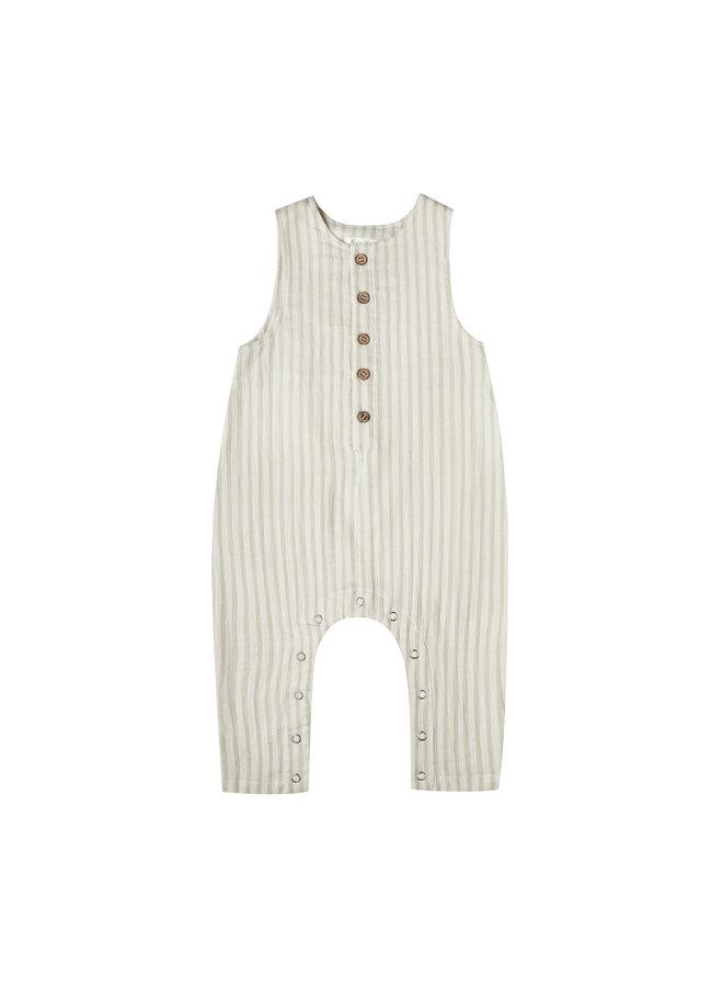 Striped Button Jumpsuit - Sage/Ivory