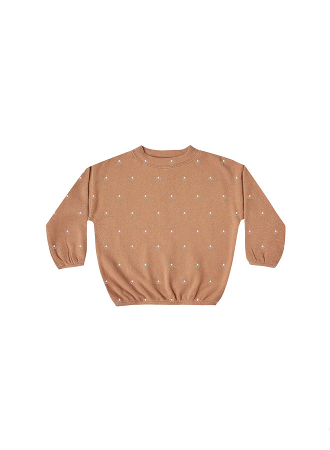 Micro Bud Slouchy Pullover - Terracotta