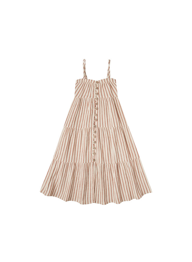 Striped Tiered Maxi Dress - Amber
