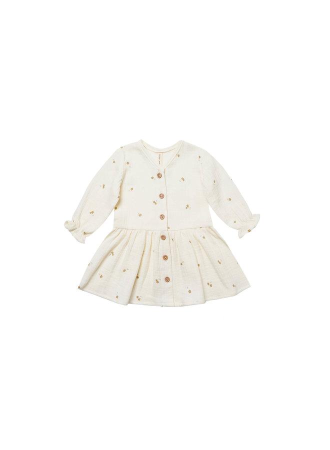 Long Sleeve Gauze Dress - Ivory