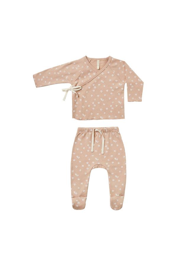 Kimono Top & Footed Pant Set - Blossom Petal