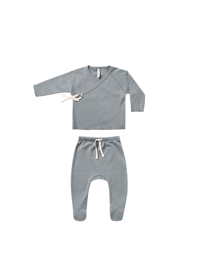 Kimono Top & Footed Pant Set - Ocean