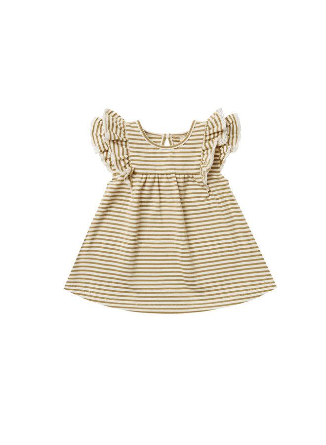Flutter Dress - Gold Stripe
