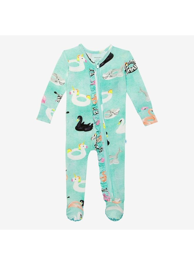 Lenny - Zippered Footie one piece with ruffle accents