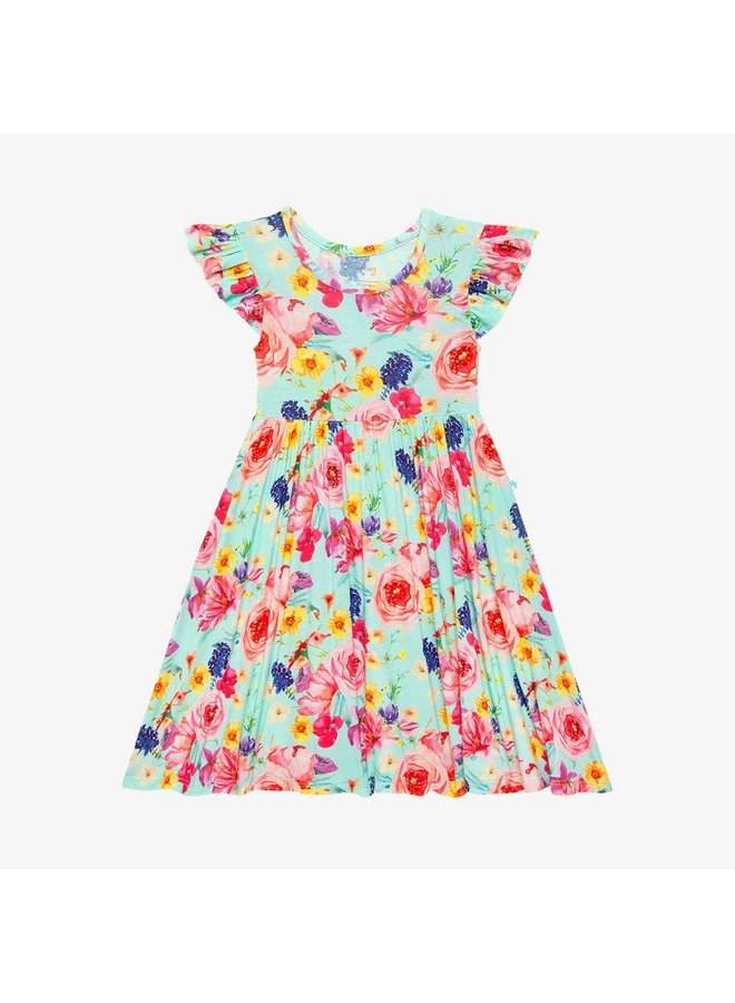Olivia Mae - Ruffled Capsleeve Basic Twirl Dress