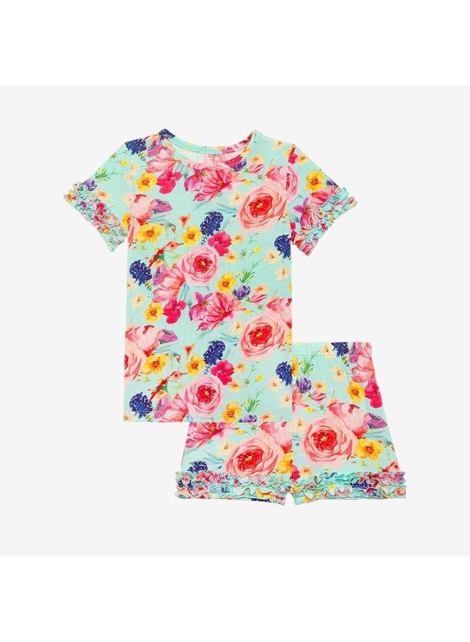 Olivia Mae - Basic Short Sleeve Micro Ruffled T-Shirt & Micro Ruffled Shorts PJ