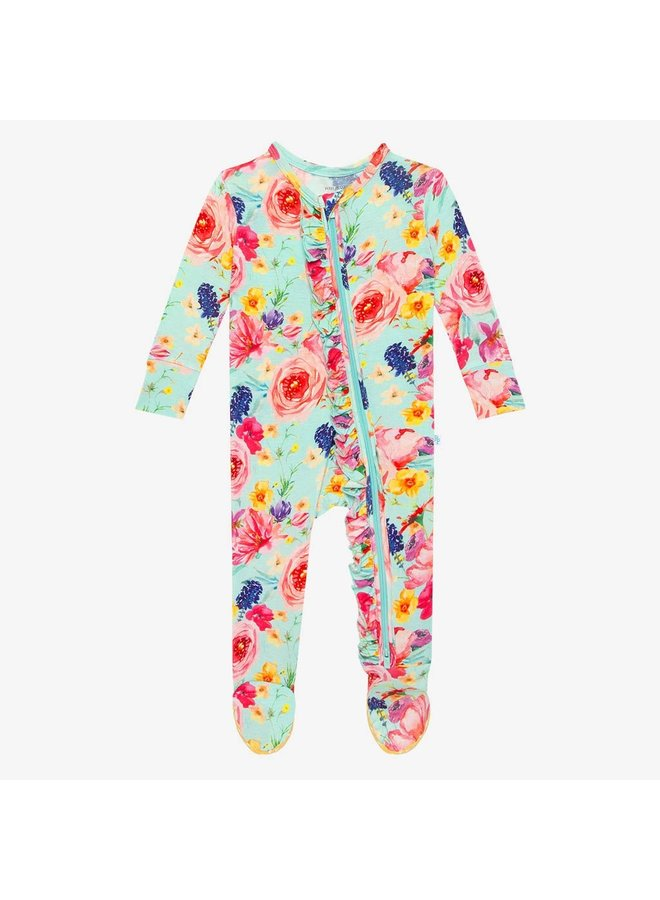 Olivia Mae - Zippered Footie one piece with ruffle accents