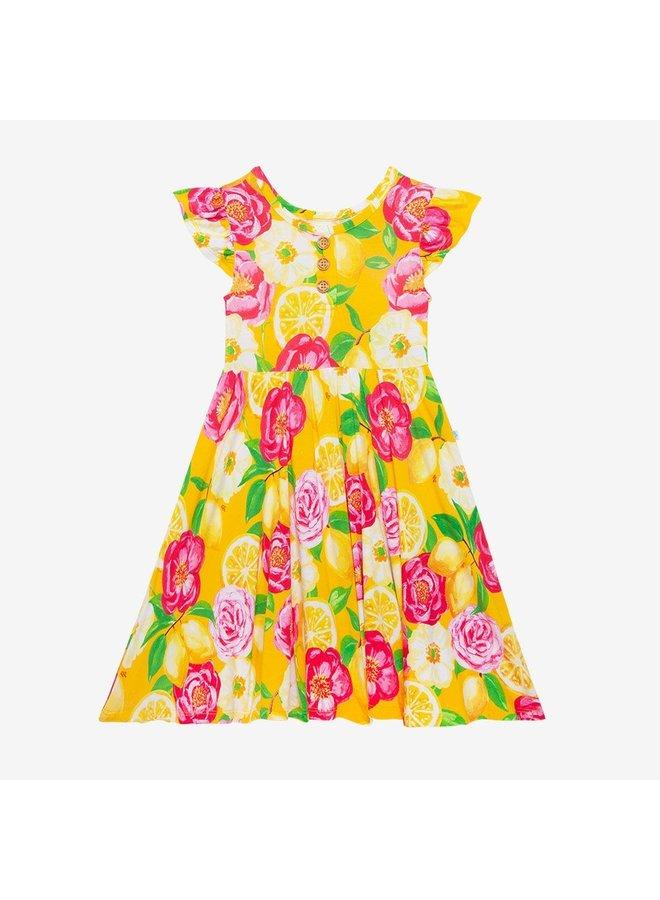 Annika - Ruffled Capsleeve Henley Twirl Dress