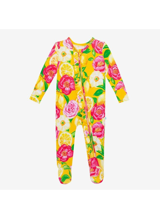 Annika - Zippered Footie one piece with ruffle accents