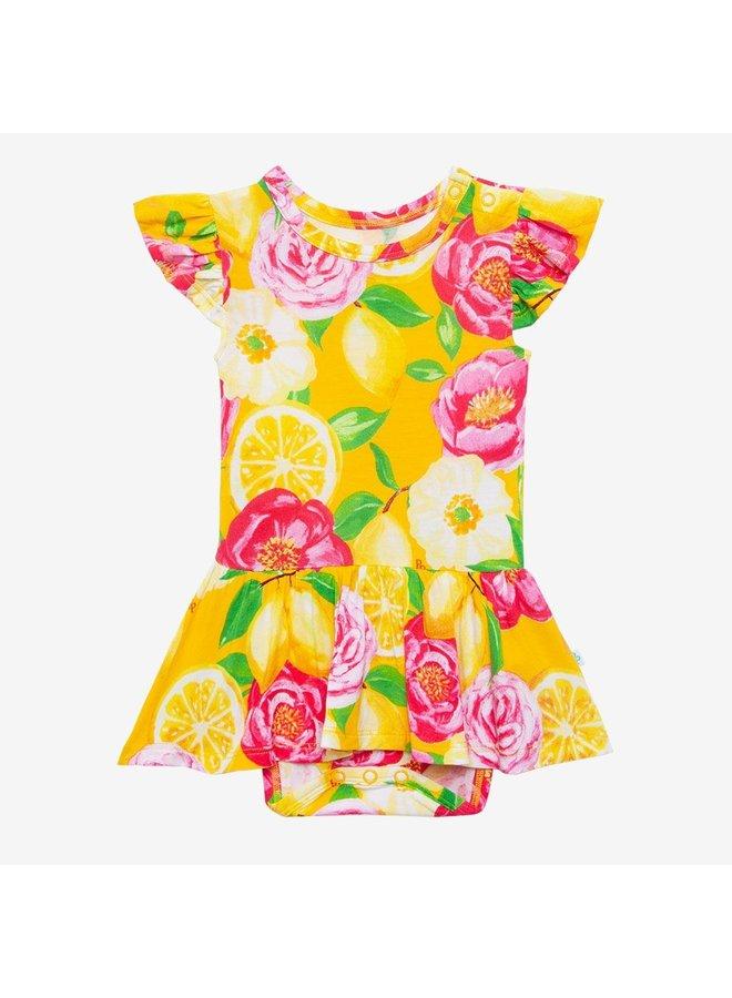 Annika - Ruffled Capsleeve Basic Twirl Skirt Bodysuit