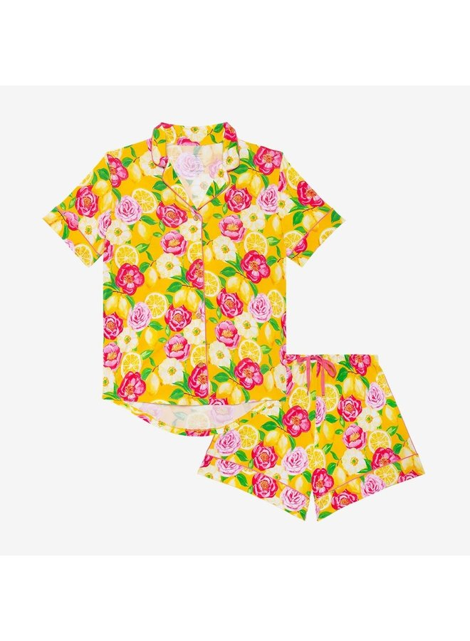 Annika - Women Piped Short Sleeve Shirt & Shorts Loungewear Set