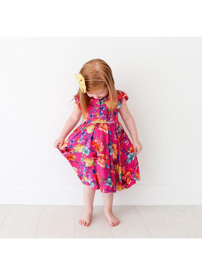 Aminatu - Ruffled Capsleeve Henley Twirl Dress