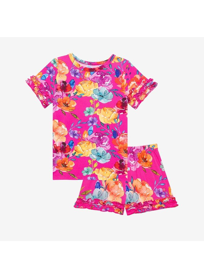 Aminatu - Basic Short Sleeve Micro Ruffled T-Shirt & Shorts
